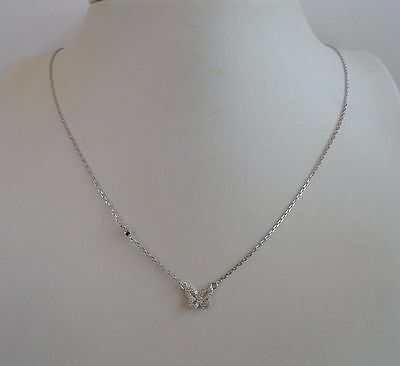 Butterfly Necklace Pendant 925 Sterling Silver  W/ .35 Ct Lab Diamonds/18''