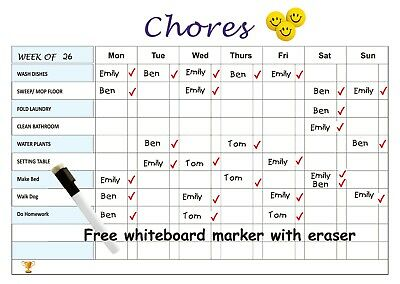 Large A3 Magnetic Chore Chart whiteboard with a free marker for entire family