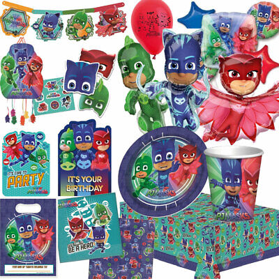 PJ MASKS Birthday Party Tableware Balloons Tablecover Supplies Decorations Bags