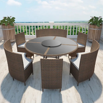Astounding Rattan Brown Outdoor Patio Dining Set Round Table 3 Benches Gmtry Best Dining Table And Chair Ideas Images Gmtryco