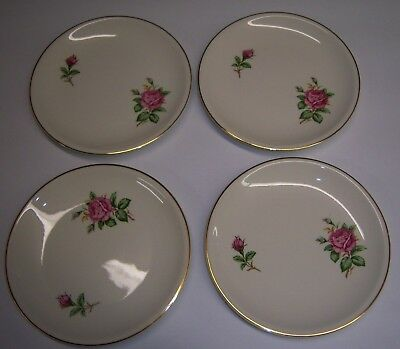 """4 Paden City Pottery 6 1/4"""" Bread Snack Plates Pink roses, green USA gold rim"""