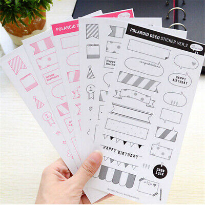 6 Sheets DIY Calendar Paper Photo Sticker Planner Scrapbook Diary Decor HOT