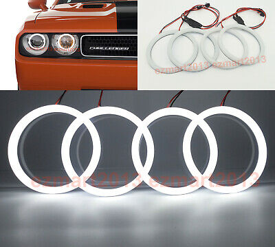 cotton LED light fit For dodge challenger 08-14 headlight 4 halo ring angel eye