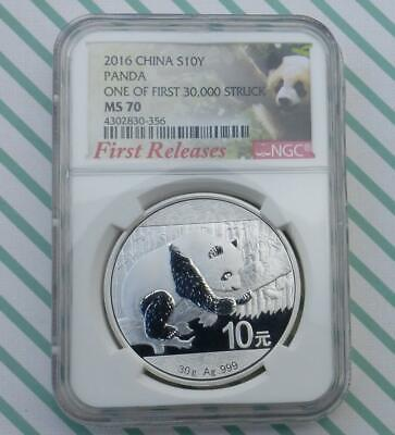 2016 NGC MS 70 China Silver Panda First Release 1 of 1st 30k Struck 10 Yuan Coin