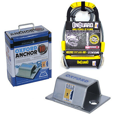 Oxford Ground Wall Anchor 10 & Onguard Pitbull 8005 Lock With Cable