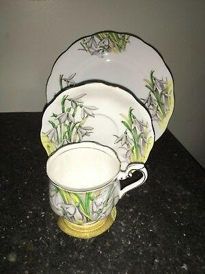 Royal Albert TRIO Snowdrop #1 Flower of the Month Bone China Cup Saucer Plate