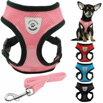 Adjustable Breathable Mesh Small Dog Puppy Cat Pet Vest Harness and Leash Set