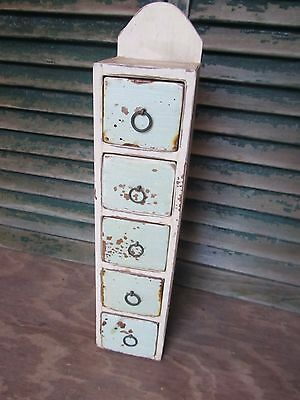 Antique Hand Made Wood Spice Cabinet 5 Drawers Kitchen Primitive Chippy Paint