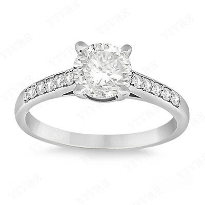 14k White Gold Plated Round 1.20 Ct Diamond Engagement Solitaire Ring For Womens