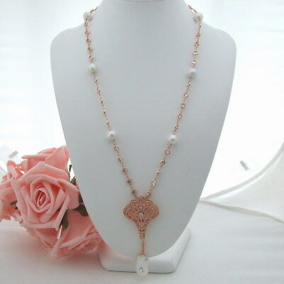 K090606 26/'/' White Rice Pearl Green Crystal Chain Necklace Keshi Pearl Pendant
