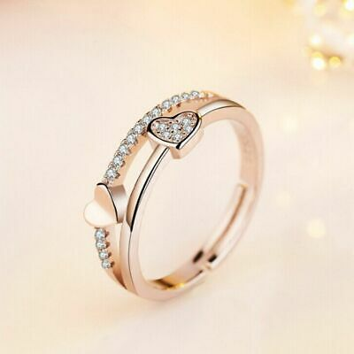Wedding Engagement Promise Silver Plated Heart Shaped Crystal Adjustable Rings
