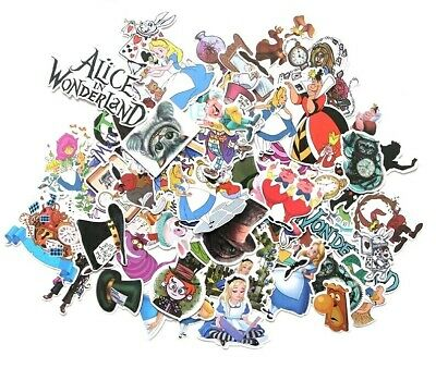 Alice in wonderland 50 pieces adhesive Stickers, diary mad hatter rabbit