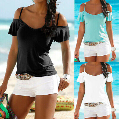 Fashion Women Summer Solid Color Casual Off Shoulder Ladies Casual Top Blouse