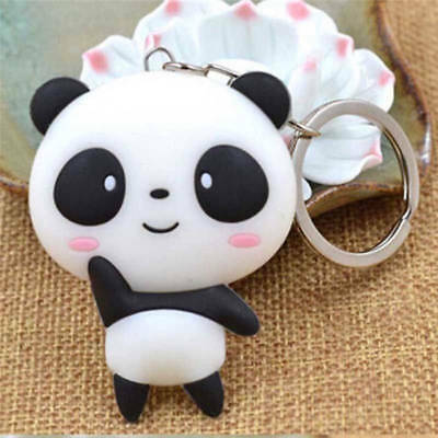1X Silicone Cartoon Panda Keychain Keyring Cute Kawaii Pendant Key Ring Chain