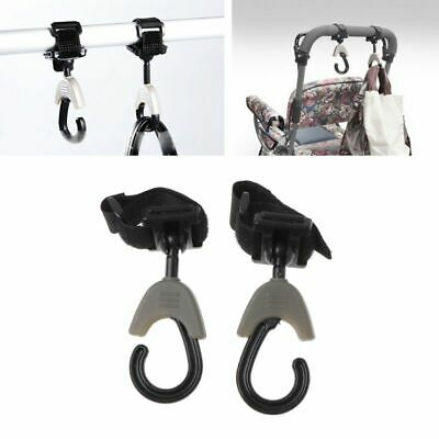 2PCs Baby Hanger Bag Stroller Pram Hooks Rotate 360 Degree Cart Hook Accessories