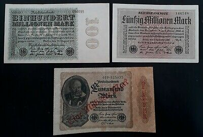 RARE 1923 Germany lot of 3 Reichsbanknotes 100/50M /1Millrd Mk P107d/109/113b