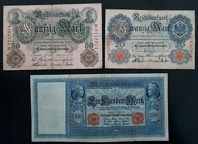RARE 1910-14 Germany lot of 3 Reichsbanknotes 20 / 50 / 100 Marks P 41/42/46b
