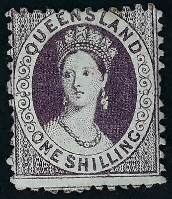 Rare 1876- Queensland Australia 1/- Mauve Chalon Head stamp Perf 12 WMK Crown/Q