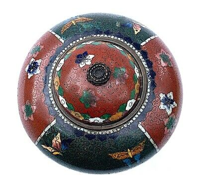 Antique Chinese Cloisonne Footed Lidded Jar Box