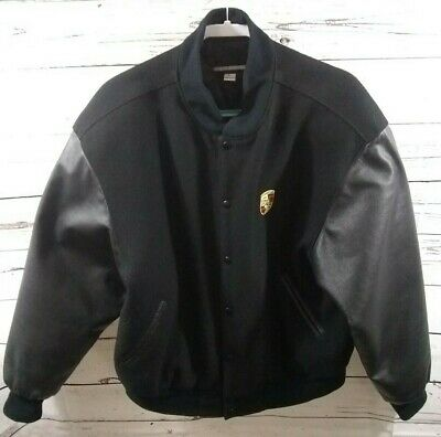98df6eef9 PORSCHE DESIGN BLACK Leather Wool Varsity Bomber Racing Jacket Men's Size  Large
