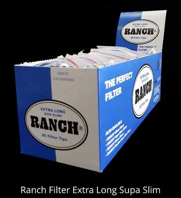 RANCH EXTRA LONG SUPA SLIMS BLUE Filter 12x80 Tobacco Cigarette tips rolling