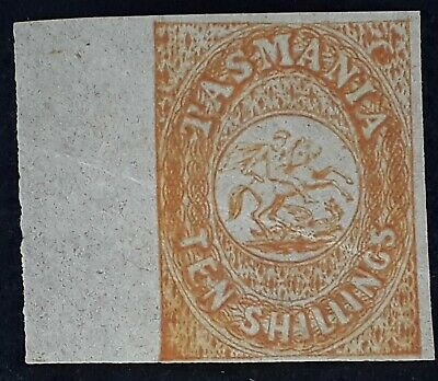 Rare 1886-Tasmania Australia 10/- Orange imperf St George & Dragon stamp Reprint