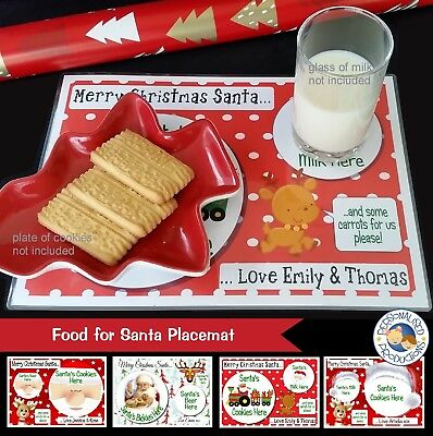 FOOD FOR SANTA PLACEMAT PRINT - personalised food drink letter from santa xmas
