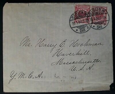 RARE 1900 Germany Cover ties 2 stamps canc Berlin to Havershill USA