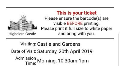 Highclere Castle ticket for two people [Limited Tickects].