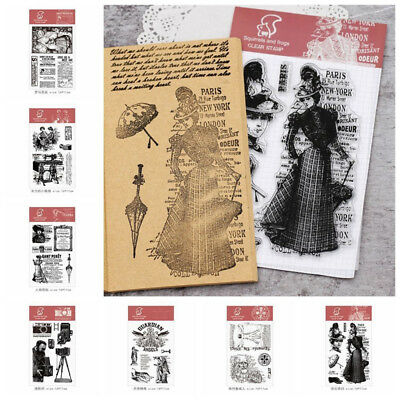 DIY Retro Transparent Silicone Clear Rubber Stamp Seal Sheet Cling Scrapbooking
