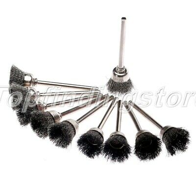 20pcs 3mm Shank Steel Wire Cup Brushes Wheel Set Dia 15mm Rotary Tool