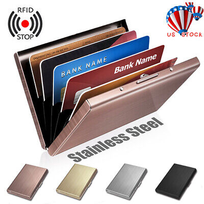 USA RFID Blocking Anti-scan Stainless Steel Credit Card Protector Wallet Holder