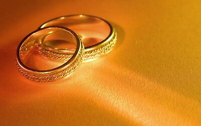 Set Of 10 Personalised Gold Wedding Ring  Peel And Seal  Envelopes
