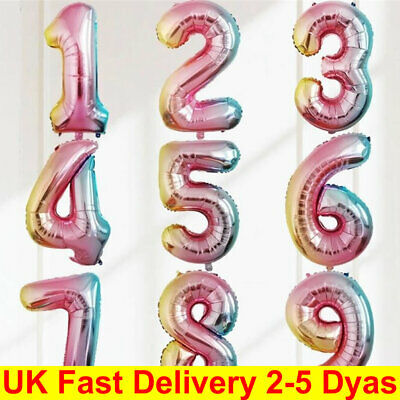 "32"" 40'' Foil Number Balloons Self Inflating Birthday Age Party Wedding Decor"