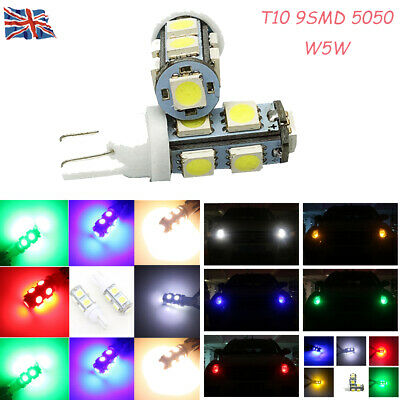 1/2/4pcs T10 501 W5W 9 SMD 5050 LED Car Side Bulb Parking Light DRL 24V 5 Colors