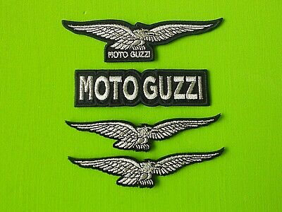 Patch Moto Guzzi Kit N.4 Toppe Ricamate Argento Termoadesive