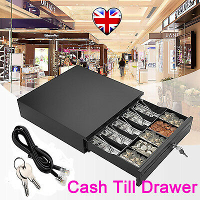 POS Cash Drawer 5 bills 5 coins Supermarket Cashier Box Removeable Tray W/ RJ11