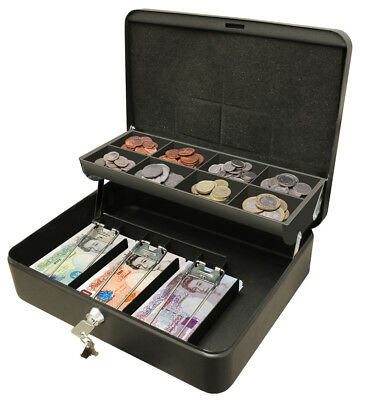 """Ultimate Cash Box 12"""" For Petty Cash With Key Large Metal Lockable Tin Safe"""
