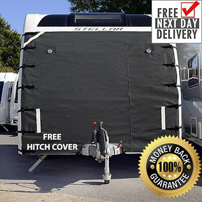 Caravan Front Towing Cover Protector - Universal Free Led Lights - Dark Grey 015