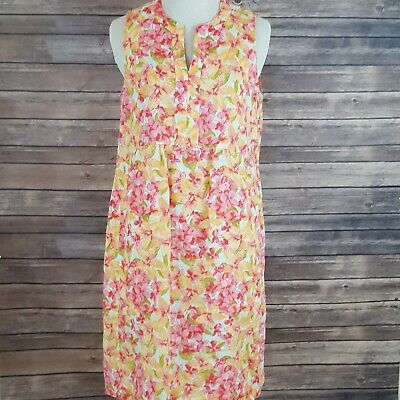 d4fb6dab094 J Jill Love Linen Dress Size XS Pockets Floral V Neck Sleeveless Semi Sheer