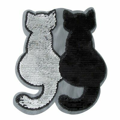 Applique Clothes Patch Stickers Reversible Crafts Sewing Cat Flip Sequin Cloth#1