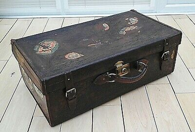 Antique Harrods Leather Suitcase Brass Fittings, Original Travel Labels, Luggage