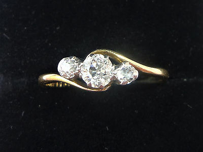 Antique Art Deco 18ct Gold Platinum & Diamond Three Stone Ring, Size M1/2