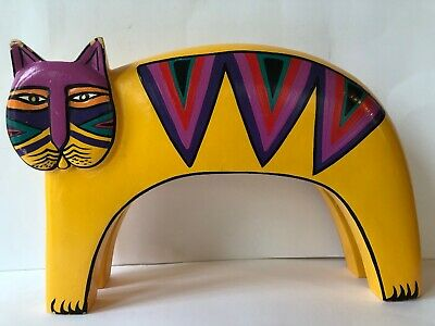 "11"" Vintage Laurel Burch Hand Painted Wood Cat Sculpture Yellow Indonesia Carved"