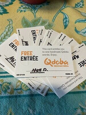 (10) QDOBA gift card - Free Entree - No Expiration - Qdoba Gift Certificate