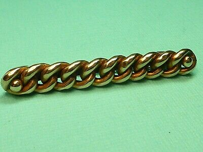 Antique 9Ct Rose Gold Suffragette Chain Link Brooch Pin 3.4G