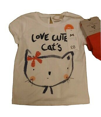 NEXT Cat Top T Shirt & Tights Set Outfit Orange Cute Age 3  RRP £17