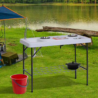 Fish Cleaning Table Camp Workstation Washing Sink Flexible Faucet