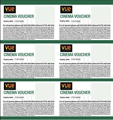 6 X Cinema tickets VUE Digital Tickets - valid until 2020!!