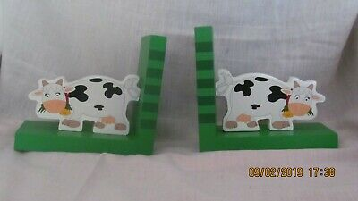 Childrens Book Ends - Cows On Striped Green Wooden Stand